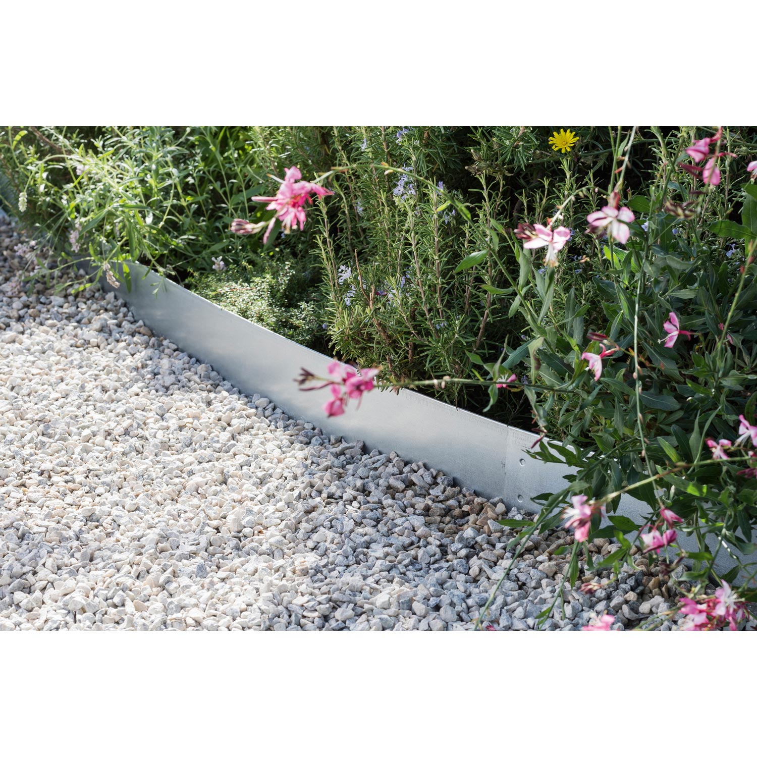 Bordure planter acier galvanis naturel x cm for Bordure metal pour jardin
