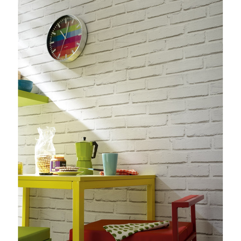 Papier peint papier brique loft blanc leroy merlin - Repeindre sur une tapisserie ...