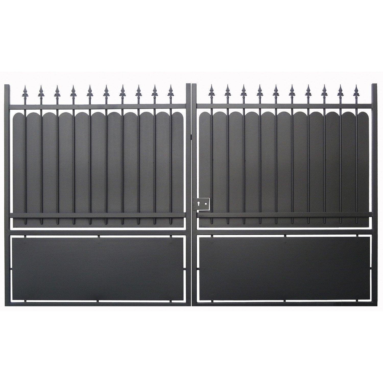 portail battant calypso, l350cm , couleur noir  leroy merlin