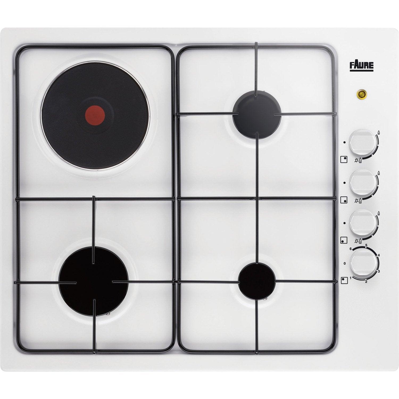 plaque de cuisson mixte 4 foyers blanc faure fgm62444wa. Black Bedroom Furniture Sets. Home Design Ideas