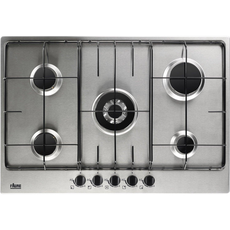 Plaque de cuisson gaz 5 foyers inox faure fgg75524xa - Leroy merlin plaque de cuisson ...