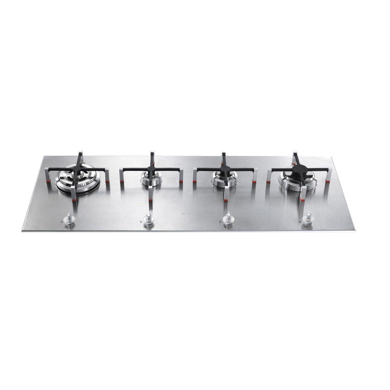 plaque de cuisson gaz 4 foyers inox smeg px140 leroy. Black Bedroom Furniture Sets. Home Design Ideas