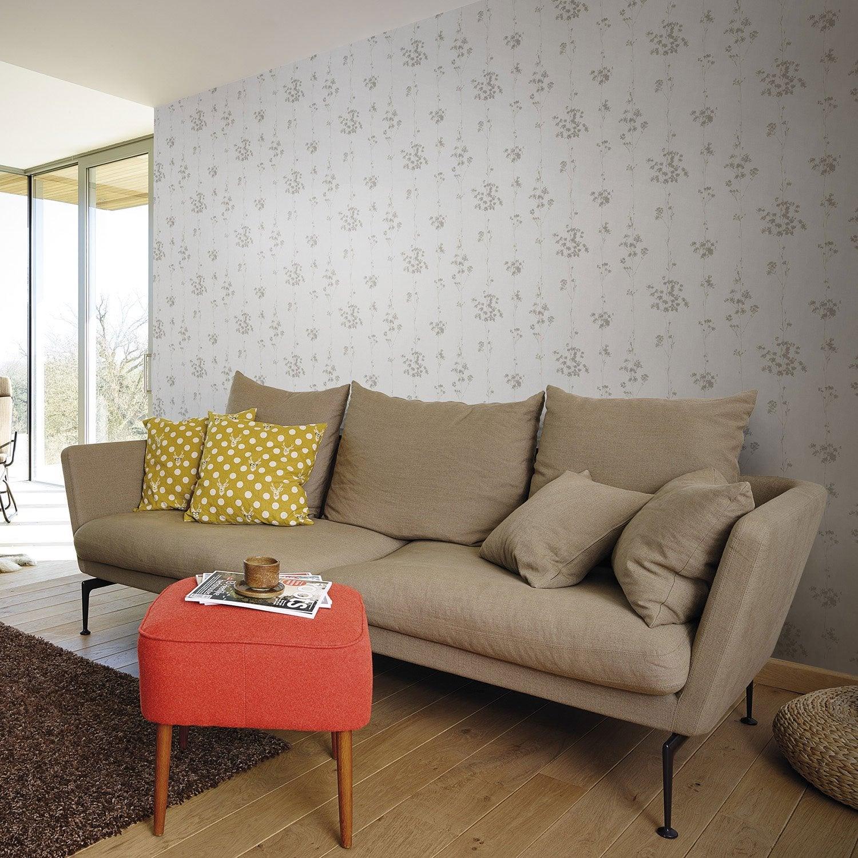 papier peint vinyle sur intiss lucia branche marron. Black Bedroom Furniture Sets. Home Design Ideas