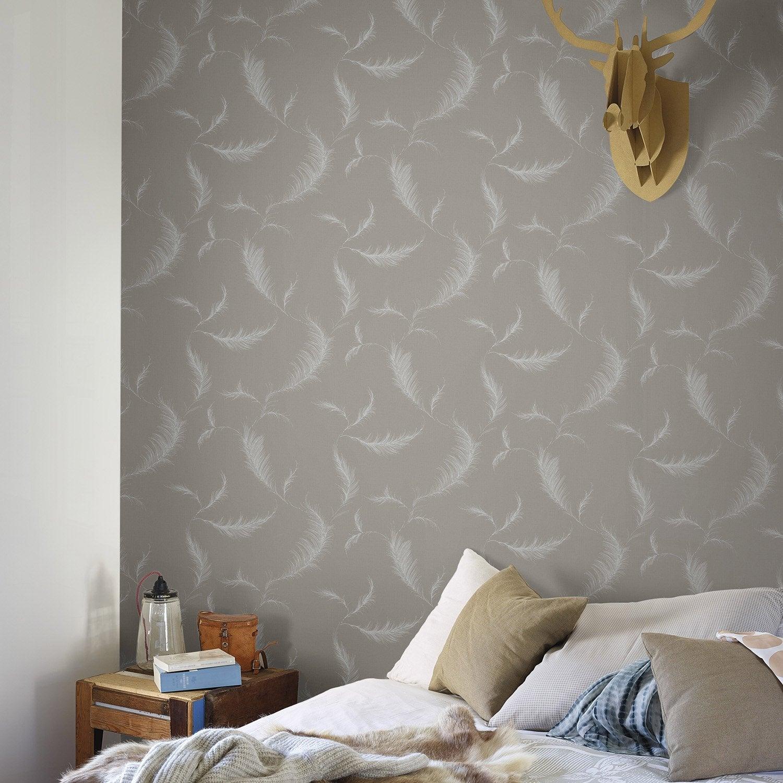 papier peint intiss lucia marron leroy merlin. Black Bedroom Furniture Sets. Home Design Ideas
