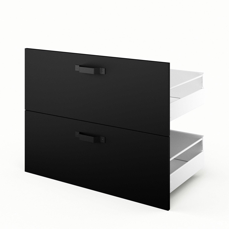 2 tiroirs de cuisine noir mat edition x x cm leroy merlin. Black Bedroom Furniture Sets. Home Design Ideas