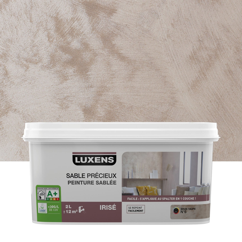 Peinture effet sable pr cieux luxens brun taupe 6 2 l leroy merlin for Peintures a effet