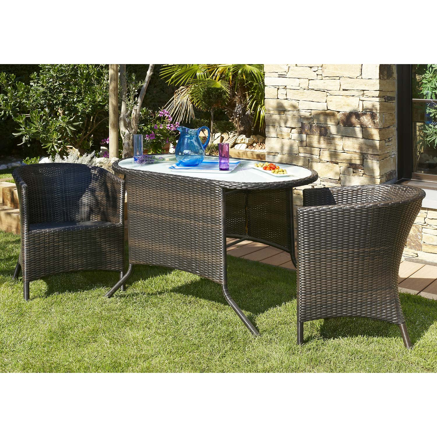 salon de jardin duo r sine tress e marron 1 table 2 fauteuils leroy merlin. Black Bedroom Furniture Sets. Home Design Ideas