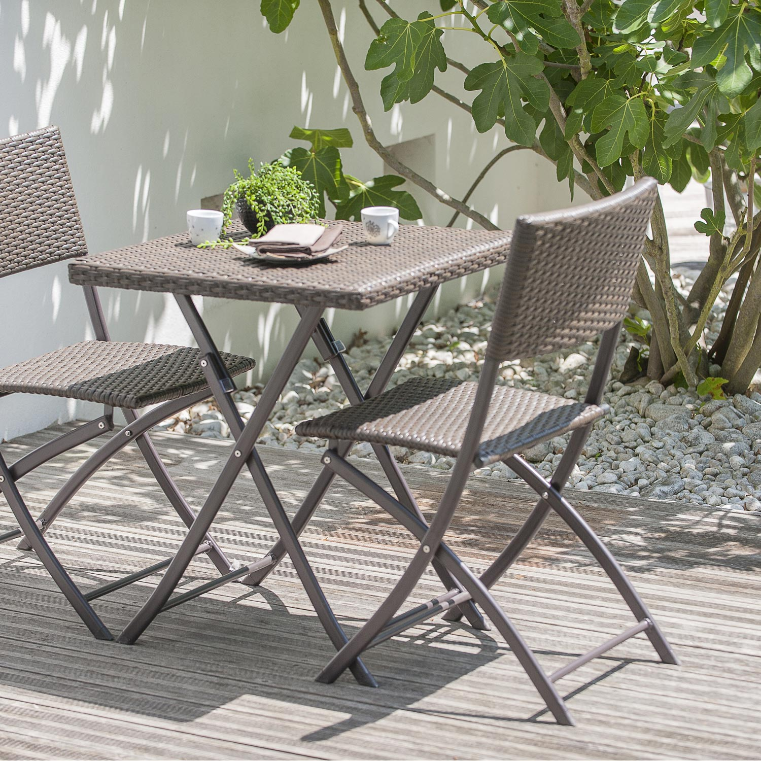 Salon de jardin r sine tress e marron 1 table gueridon 2 - Table rabattable leroy merlin ...