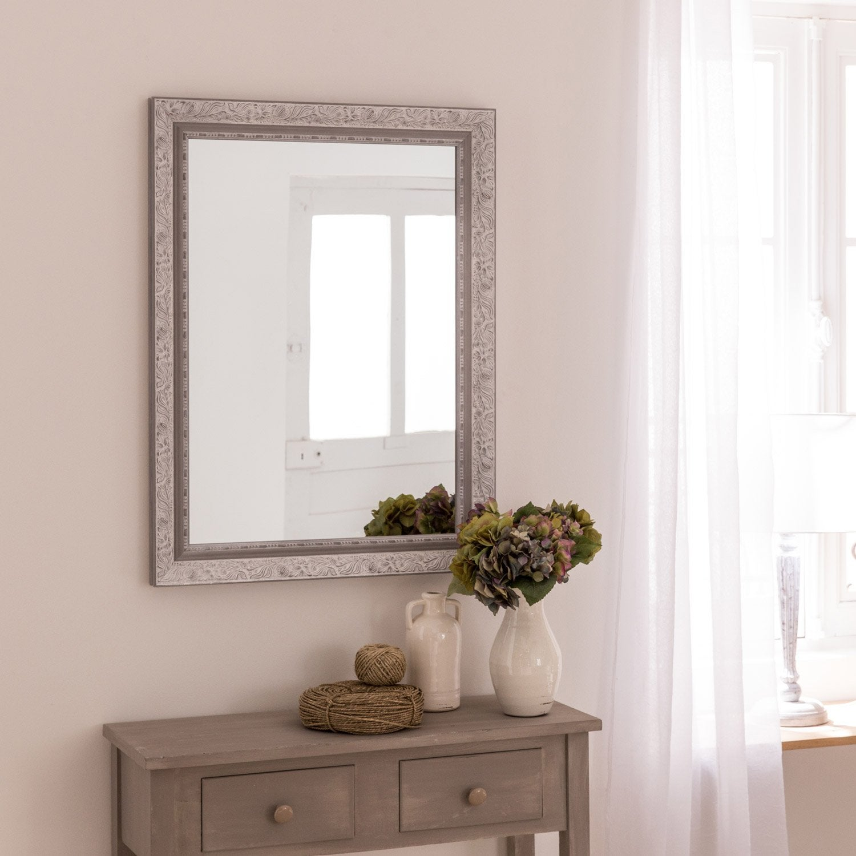 Miroir louise gris x cm leroy merlin for Miroir 50 x 90