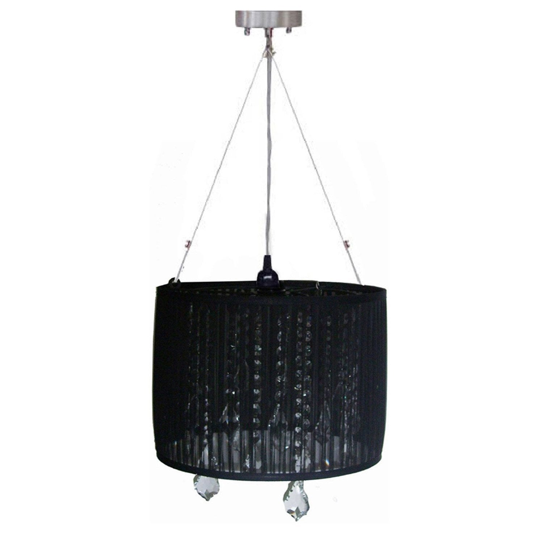 suspension baroque rachelle tissus noir 1 x 40 w seynave. Black Bedroom Furniture Sets. Home Design Ideas