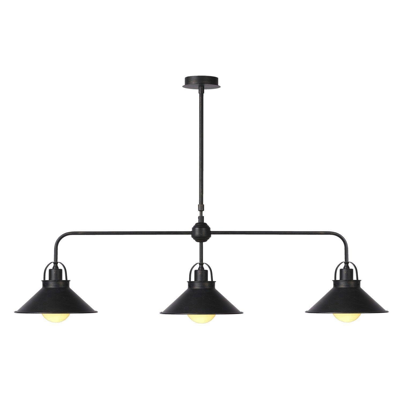 Lustre vintage berkley m tal noir 3 x 60 w lucide leroy for Lustre terrasse exterieur