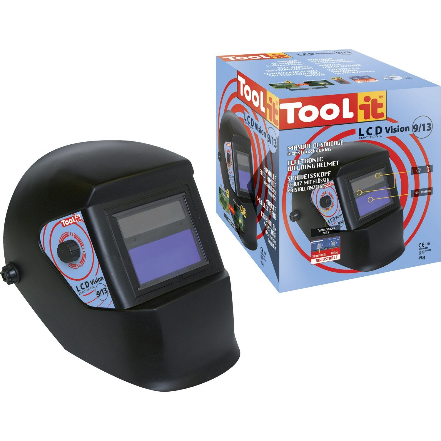 Masque de soudeur automatique tool it lcd vision 9 13 leroy merlin - Leroy merlin lorient ...