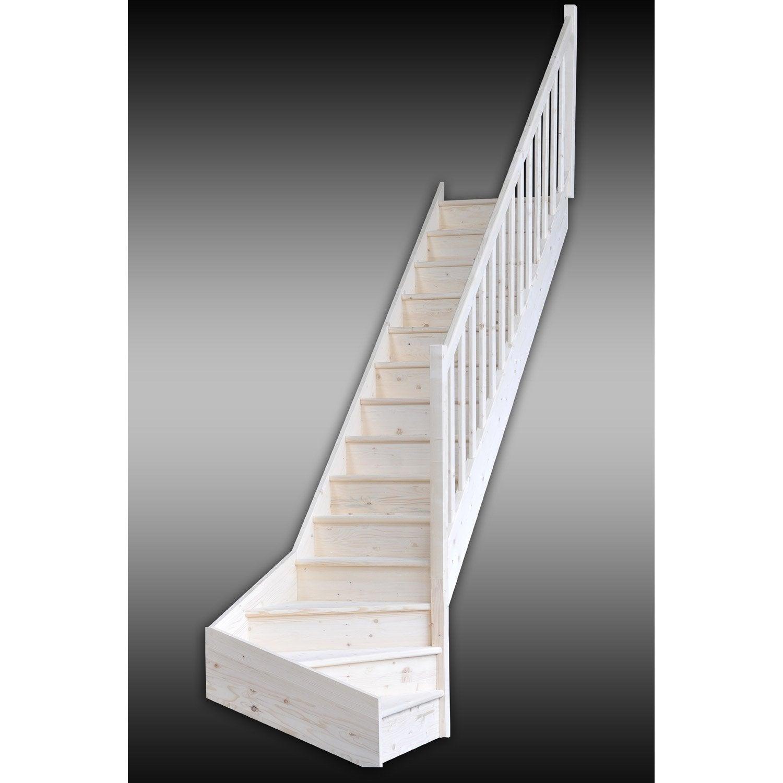 Escalier quart tournant bas droit deva structure bois - Marche pied bois leroy merlin ...