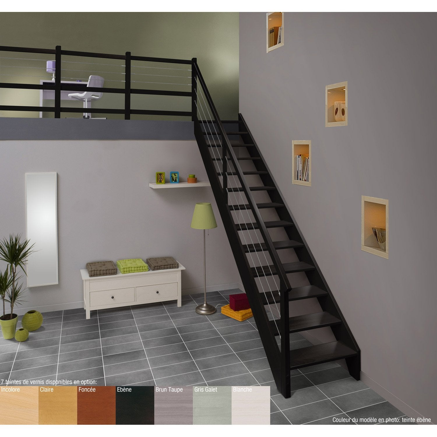 escalier droit urban acier structure bois marche bois leroy merlin. Black Bedroom Furniture Sets. Home Design Ideas