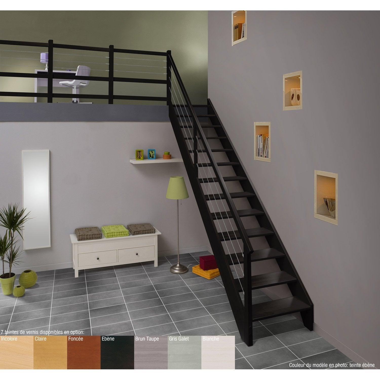 Escalier droit urban acier marches structure bois lamell coll h tre brut - Rampe escalier leroy merlin ...