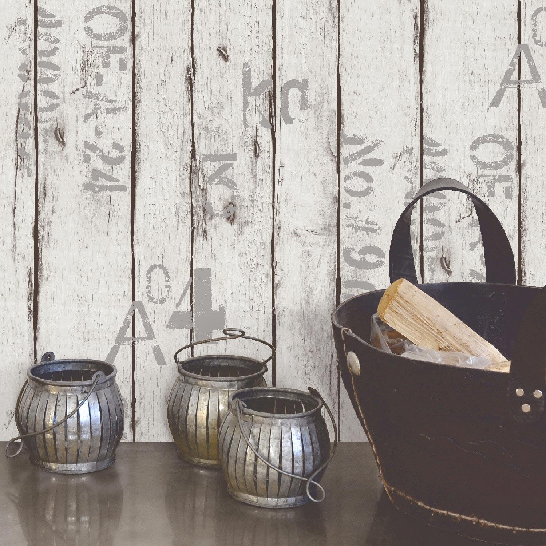 Papier peint vinyle sur intiss wood and letters blanc for Lame vinyle salle de bain