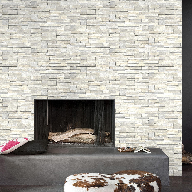 Papier peint vinyle sur intiss brique marbre blanc larg - Papier peint intisse leroy merlin ...