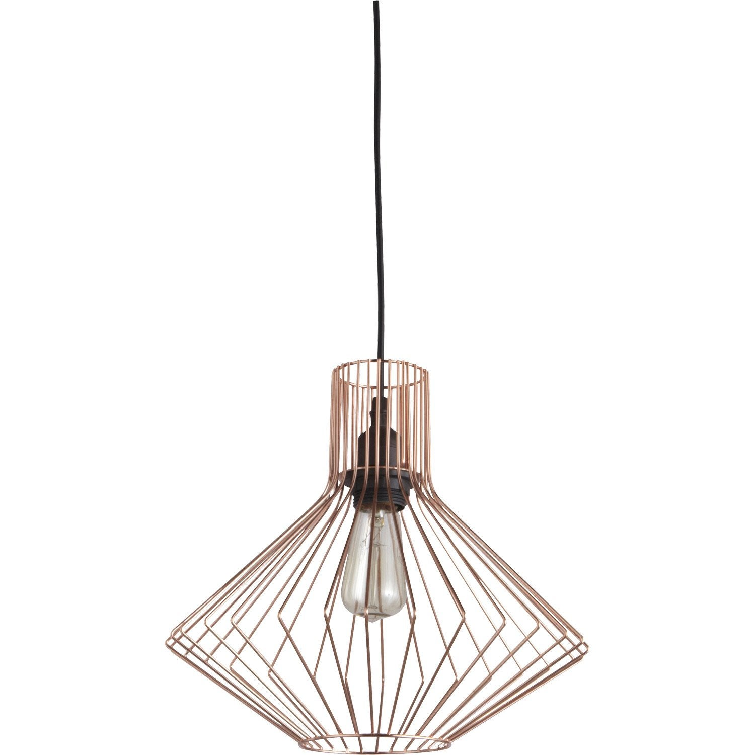 Suspension design dalma m tal cuivre 1 x 60 w brilliant - Abat jour suspension leroy merlin ...