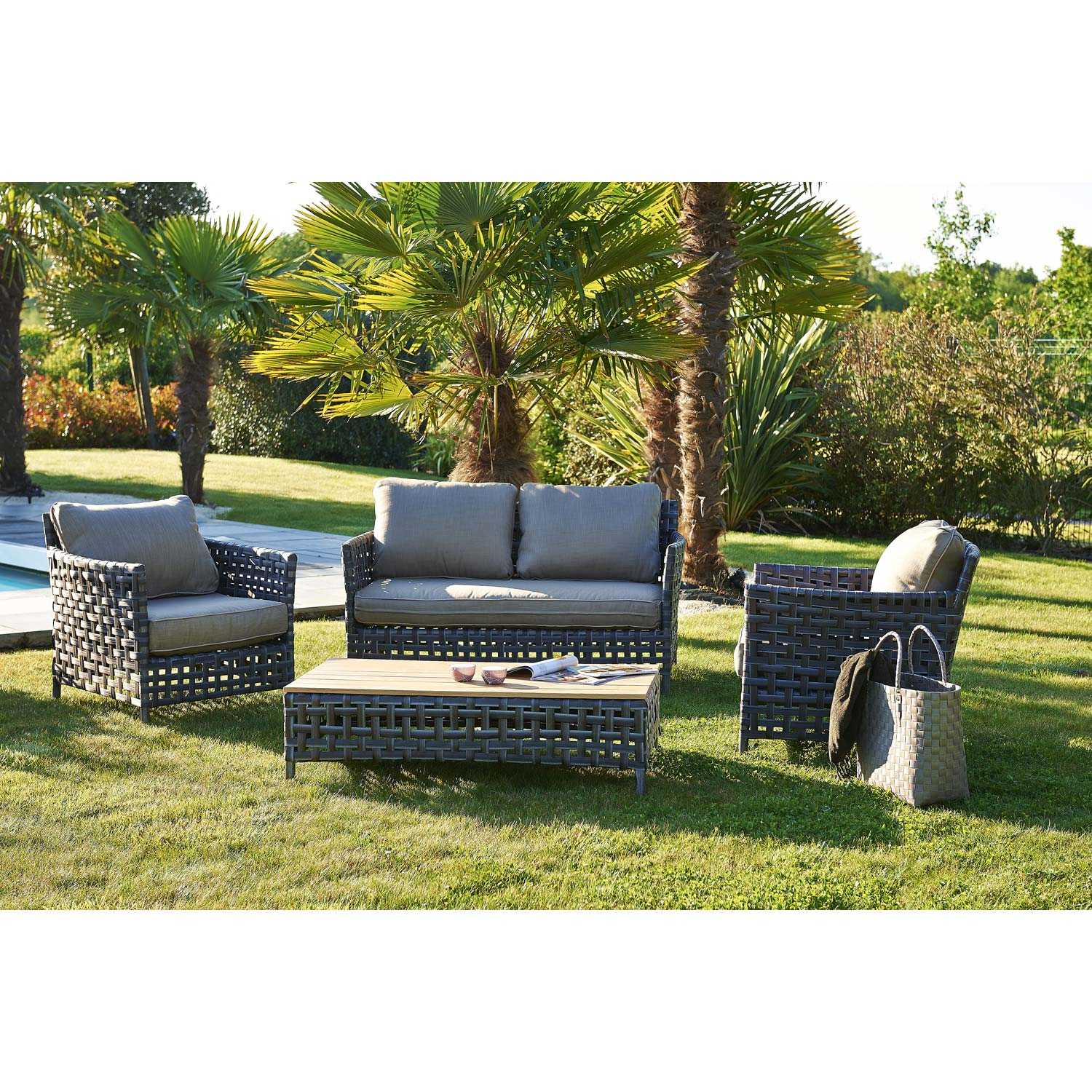 salon bas de jardin riade r sine tress e gris anthracite t canap 2fauteuils leroy merlin. Black Bedroom Furniture Sets. Home Design Ideas