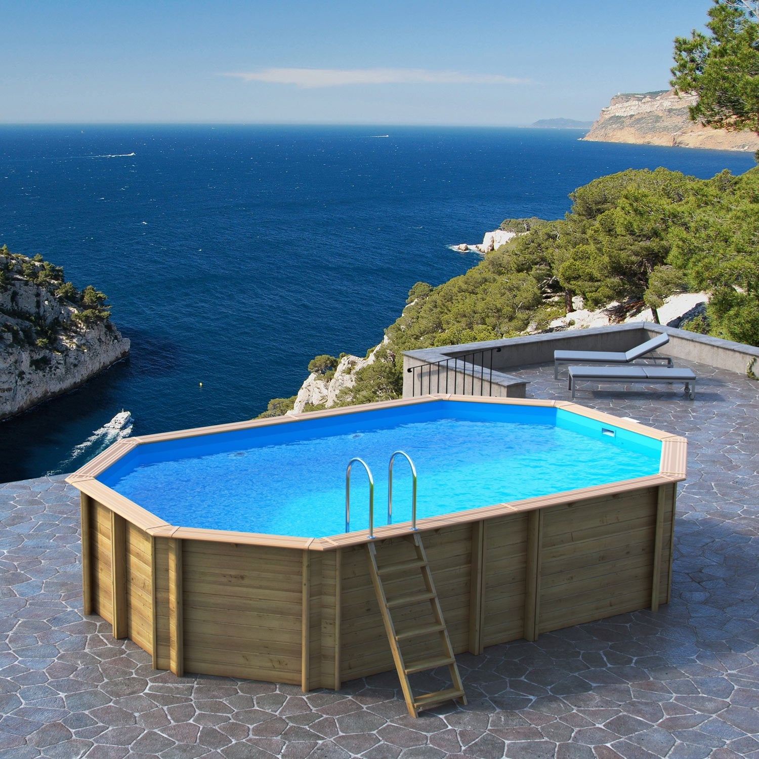 Piscine hors sol bois odyssea proswell by procopi l 6 4 x for Piscine demontable bois