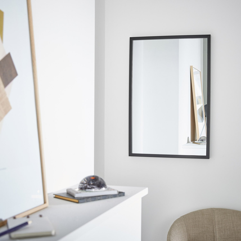 Miroir milo inspire noir x cm leroy merlin for Televiseur miroir leroy merlin