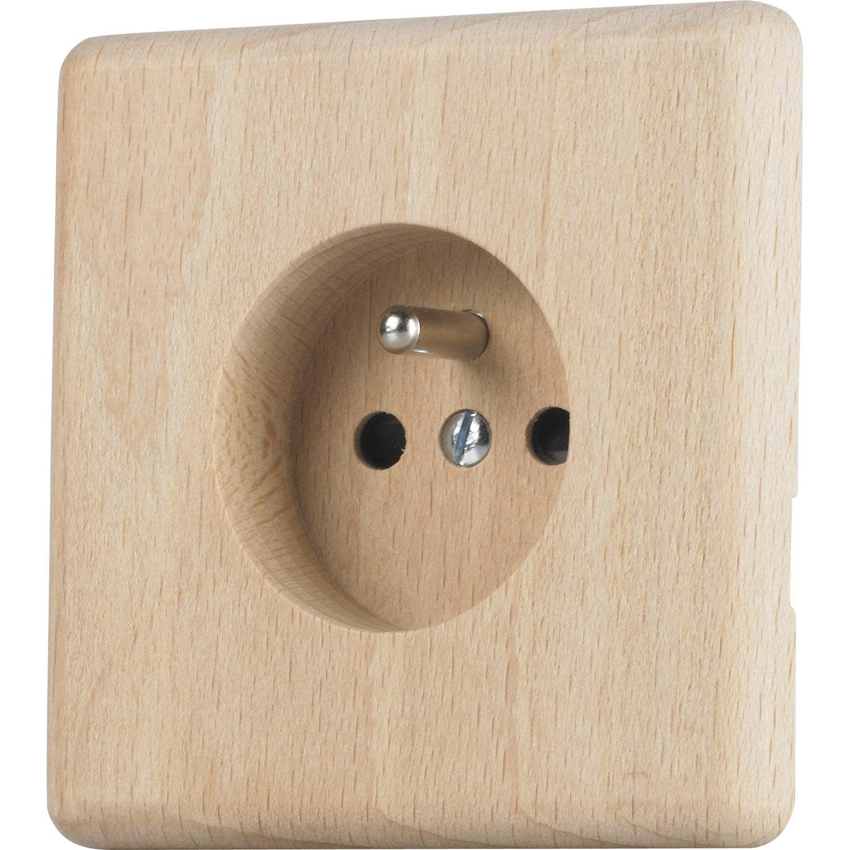 Prise avec terre chanterelle modul design h tre leroy - Cache prise electrique design ...