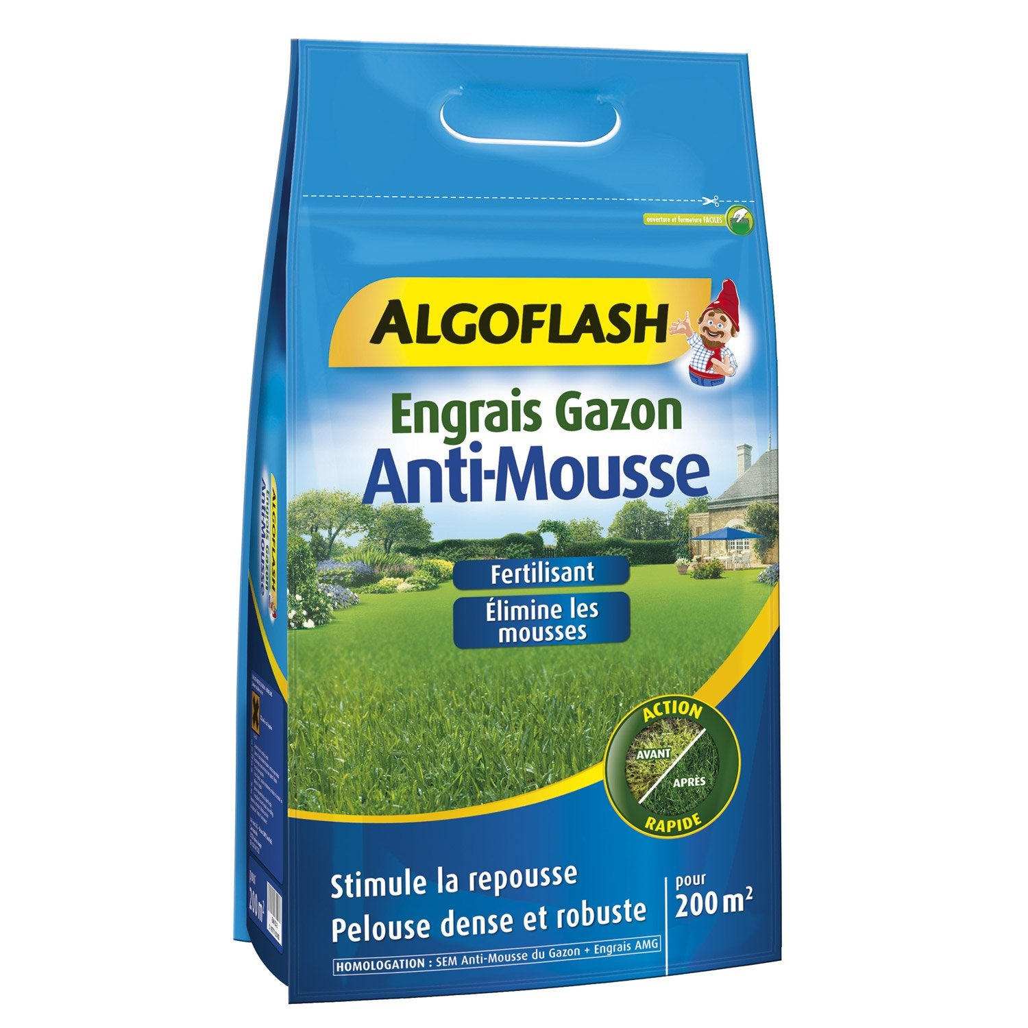 Engrais gazon anti mousse algoflash 12kg 200m2 leroy merlin - Anti mousse gazon chaux ...