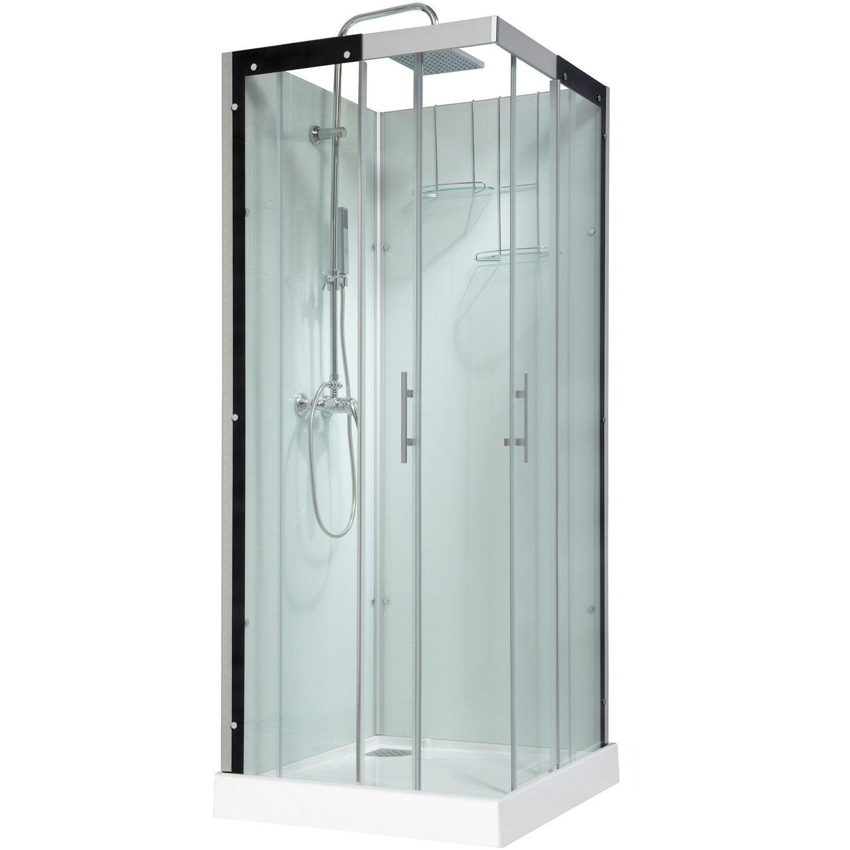 Cabine de douche carr 80x80 cm thalaglass 2 mitigeur for Cedeo cabine de douche