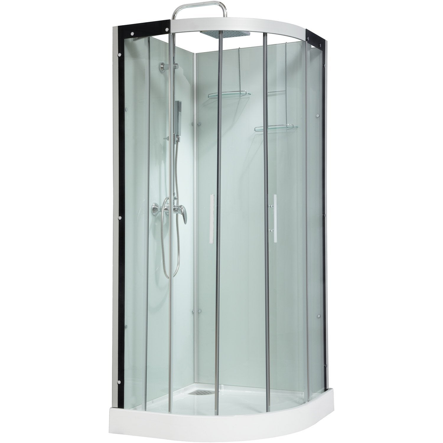 cabine de douche 1 4 de cercle 90x90 cm thalaglass 2 mitigeur leroy merlin. Black Bedroom Furniture Sets. Home Design Ideas