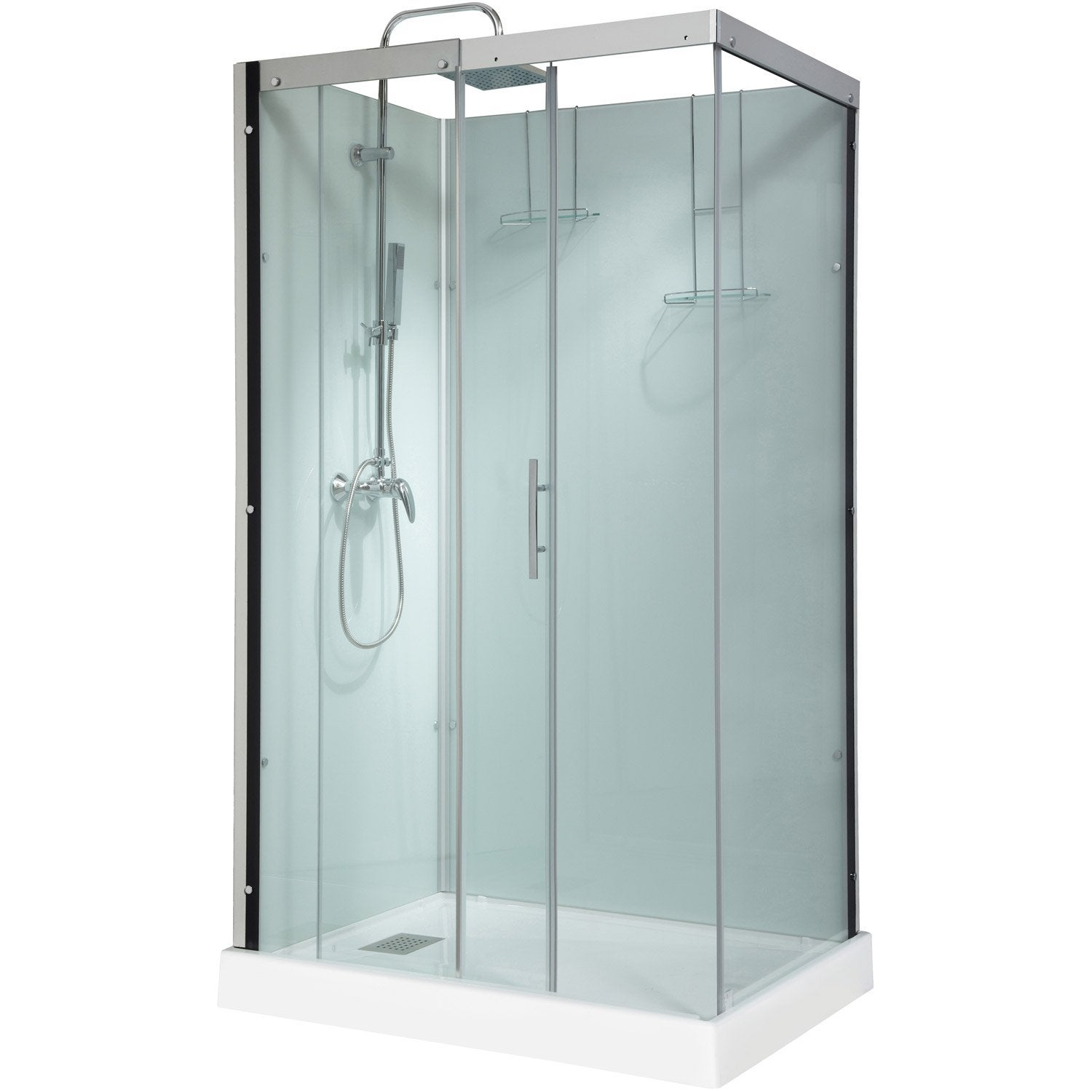 Cabine de douche thalaglass 2 simple mitigeur rectangulaire 120x90 cm leroy - Cabine de douche simple ...
