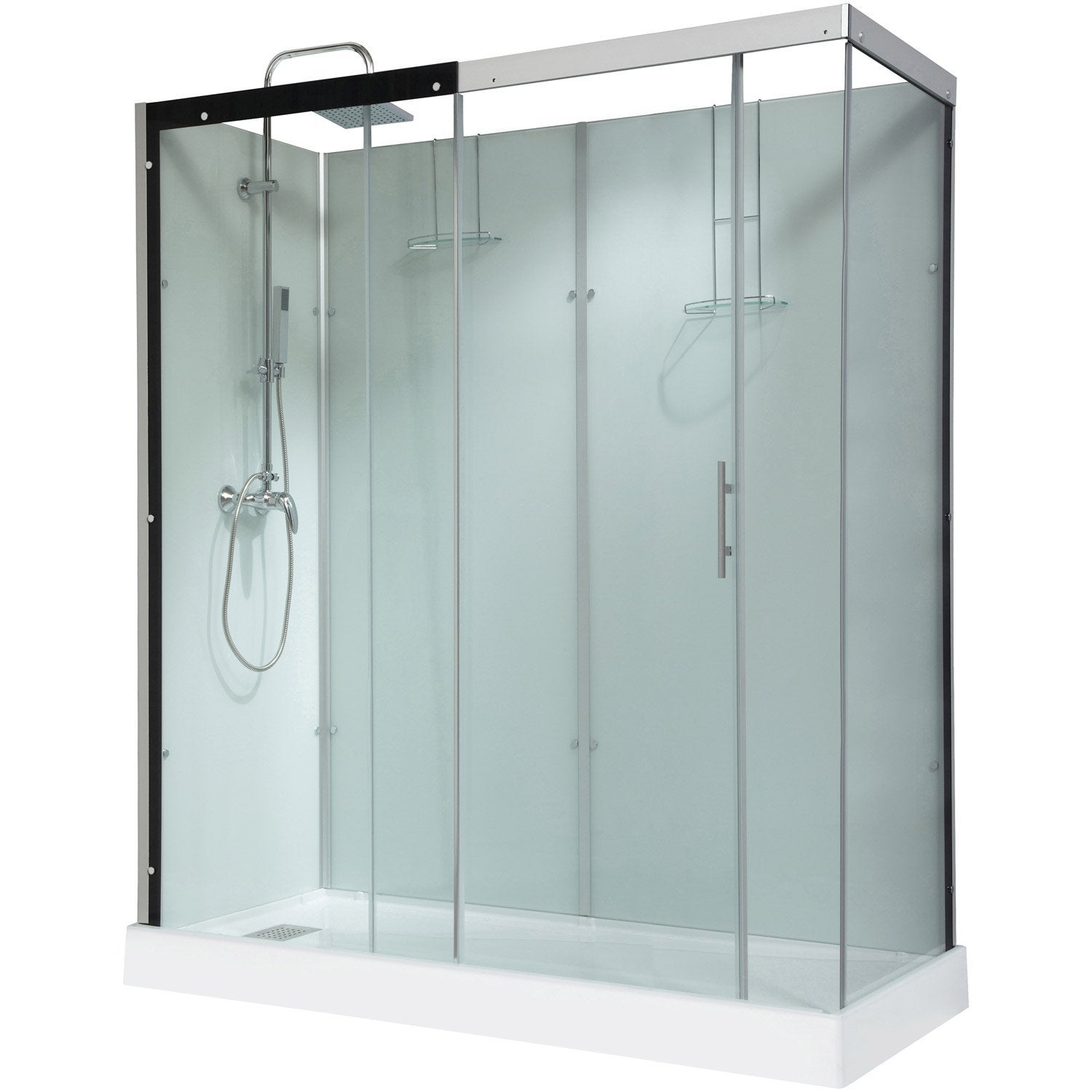 cabine de douche thalaglass 2 simple mitigeur rectangulaire 180x80 cm leroy merlin. Black Bedroom Furniture Sets. Home Design Ideas