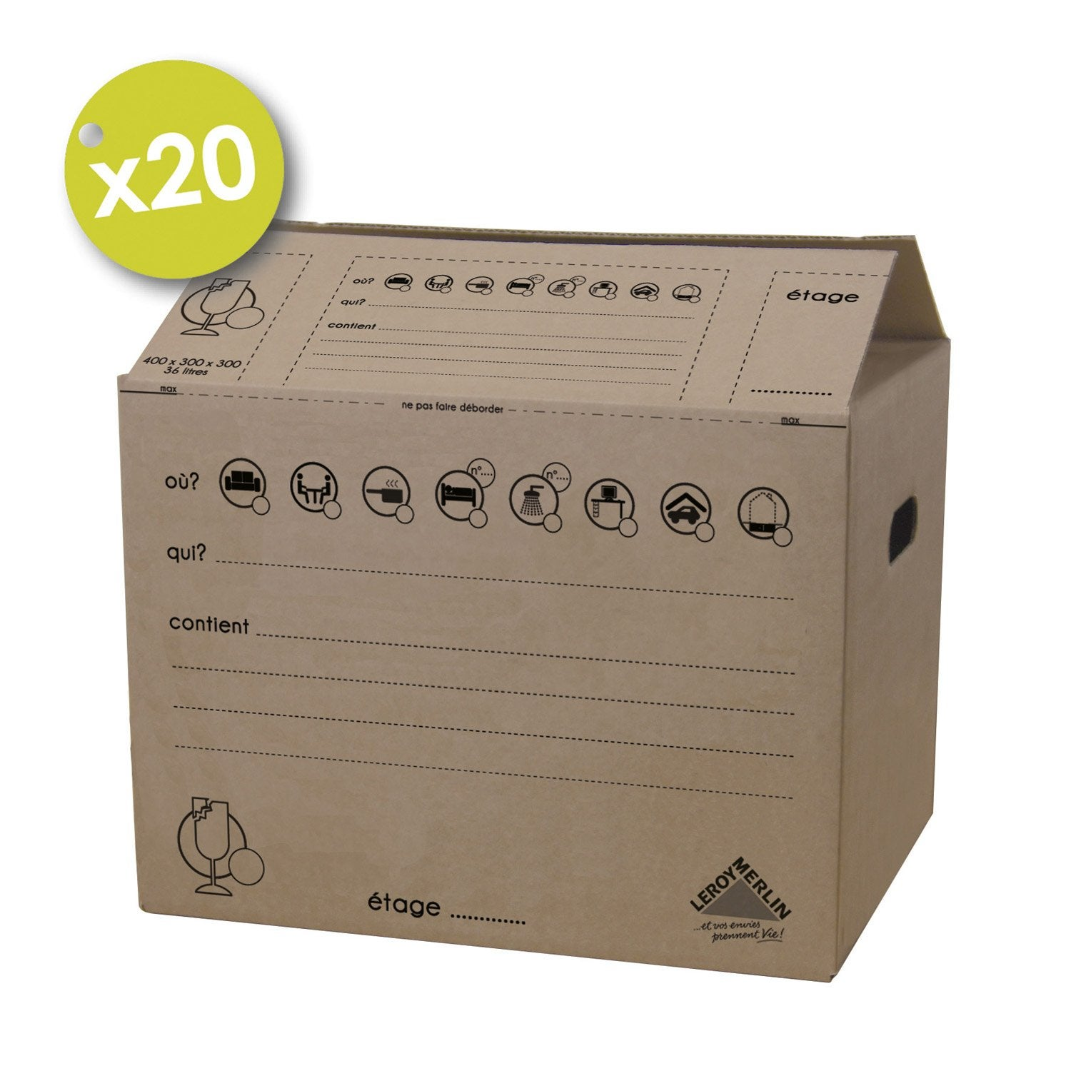 Lot de 20 cartons d m nagement de 36 l 40 x 30 x 30 cm leroy merlin - Cartons demenagement leroy merlin ...