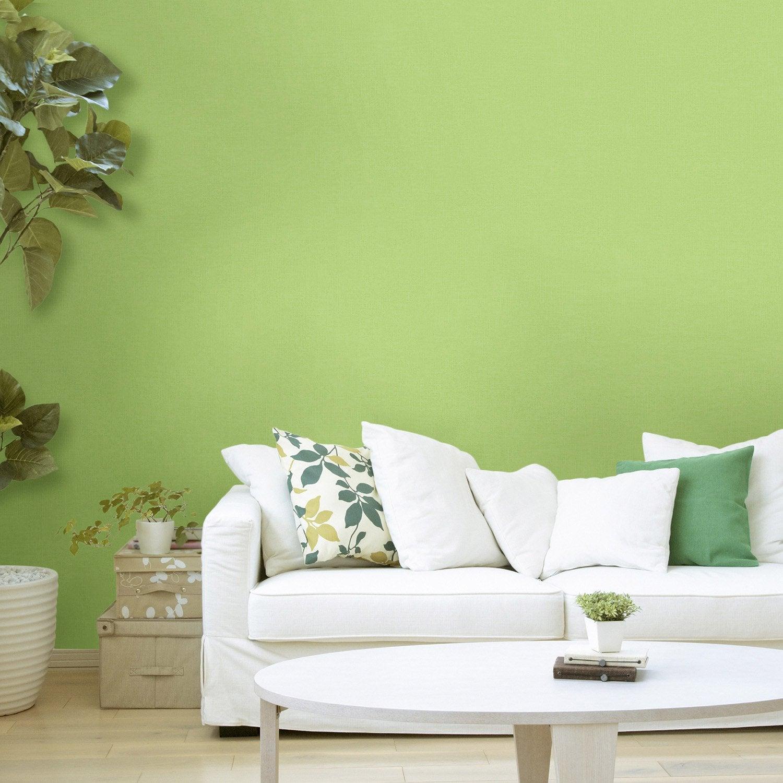 Couleur Chambre Adulte Leroy Merlin : Papier peint intissé lisse mat vert leroy merlin