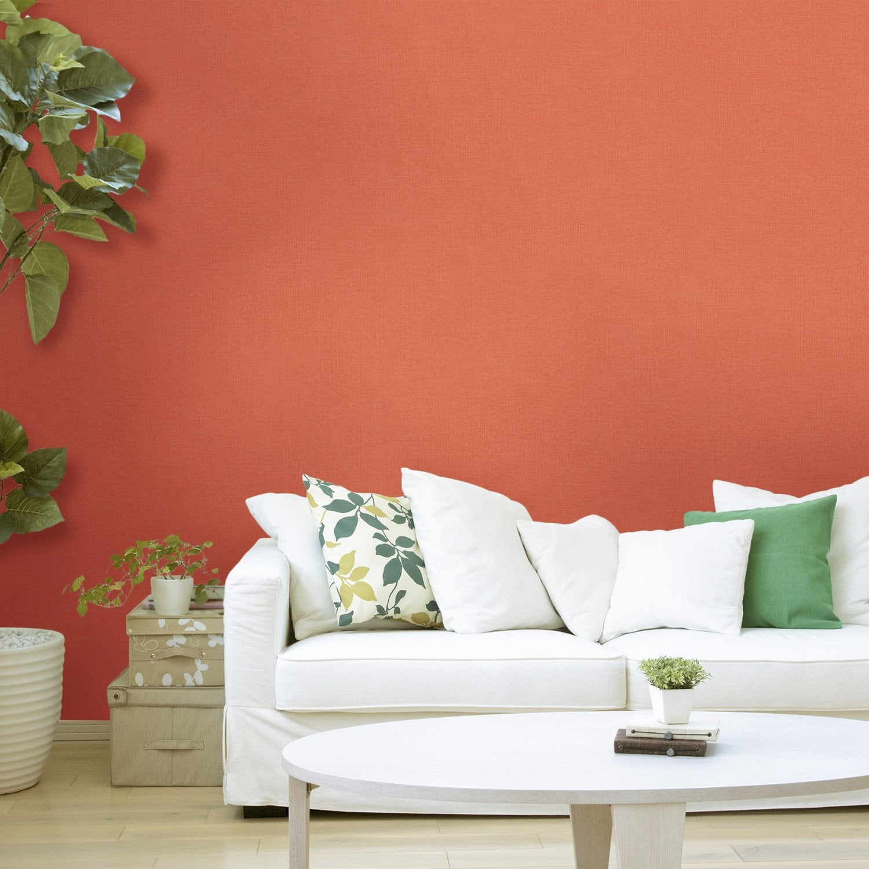papier peint vinyle sur intiss inspire uni orange fusion. Black Bedroom Furniture Sets. Home Design Ideas