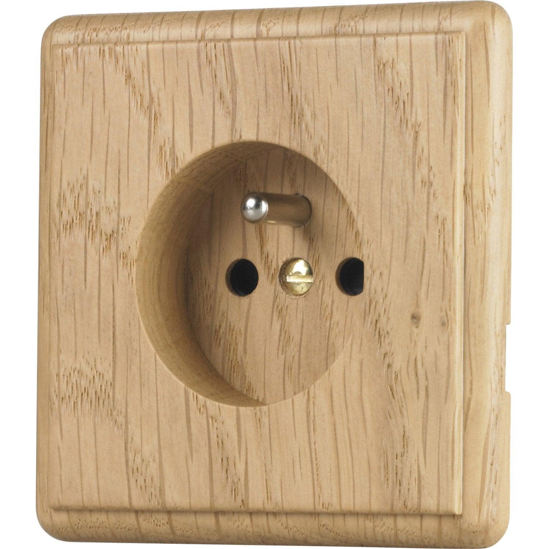 Prise avec terre chanterelle modul design ch ne leroy for Carrelage prise electrique