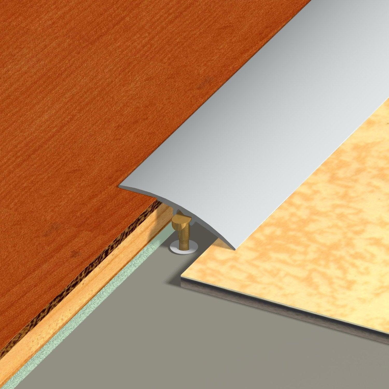 Barre de seuil multi niveaux aspect inox dinac gris 2 7 x 83 cm leroy merlin - Barre de seuil de rattrapage de niveau ...