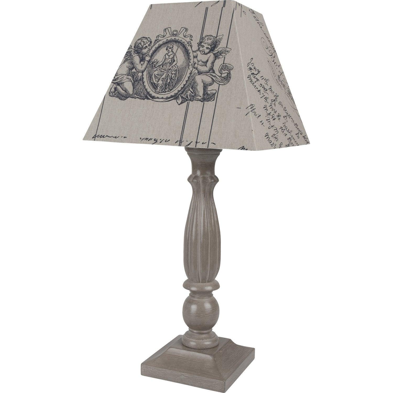 lampe quatro corep coton taupe 60w leroy merlin. Black Bedroom Furniture Sets. Home Design Ideas