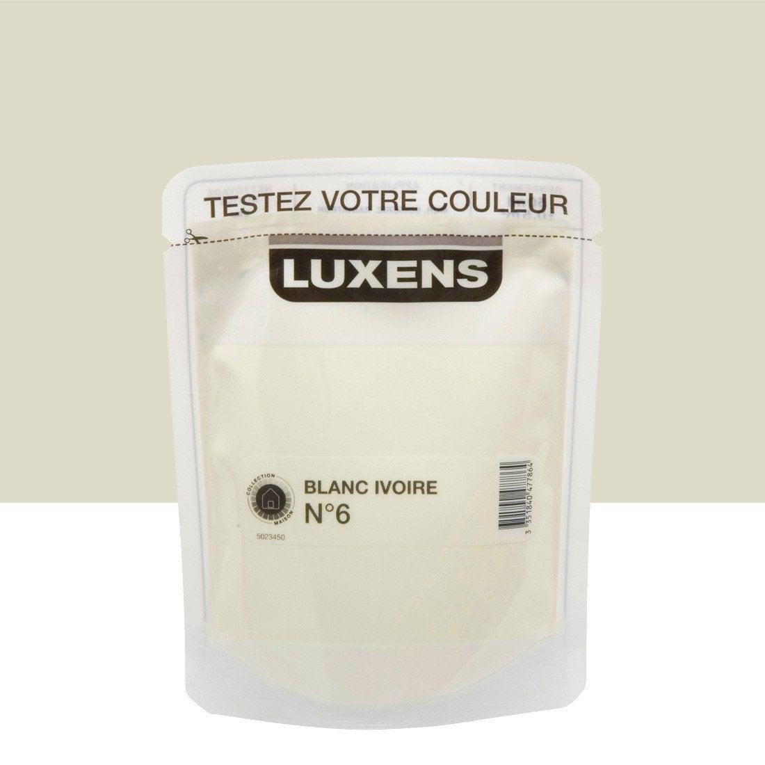 Testeur peinture blanc ivoire 6 luxens couleurs - Peinture luxens blanc satin ...
