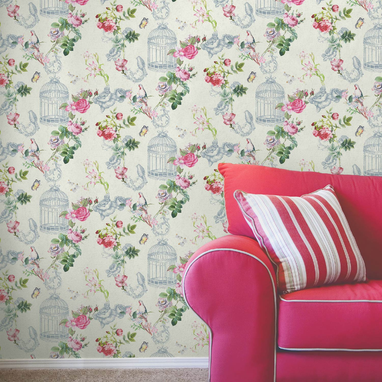 Papier peint intiss cage aux papillons rose leroy merlin - Papier leroy merlin ...