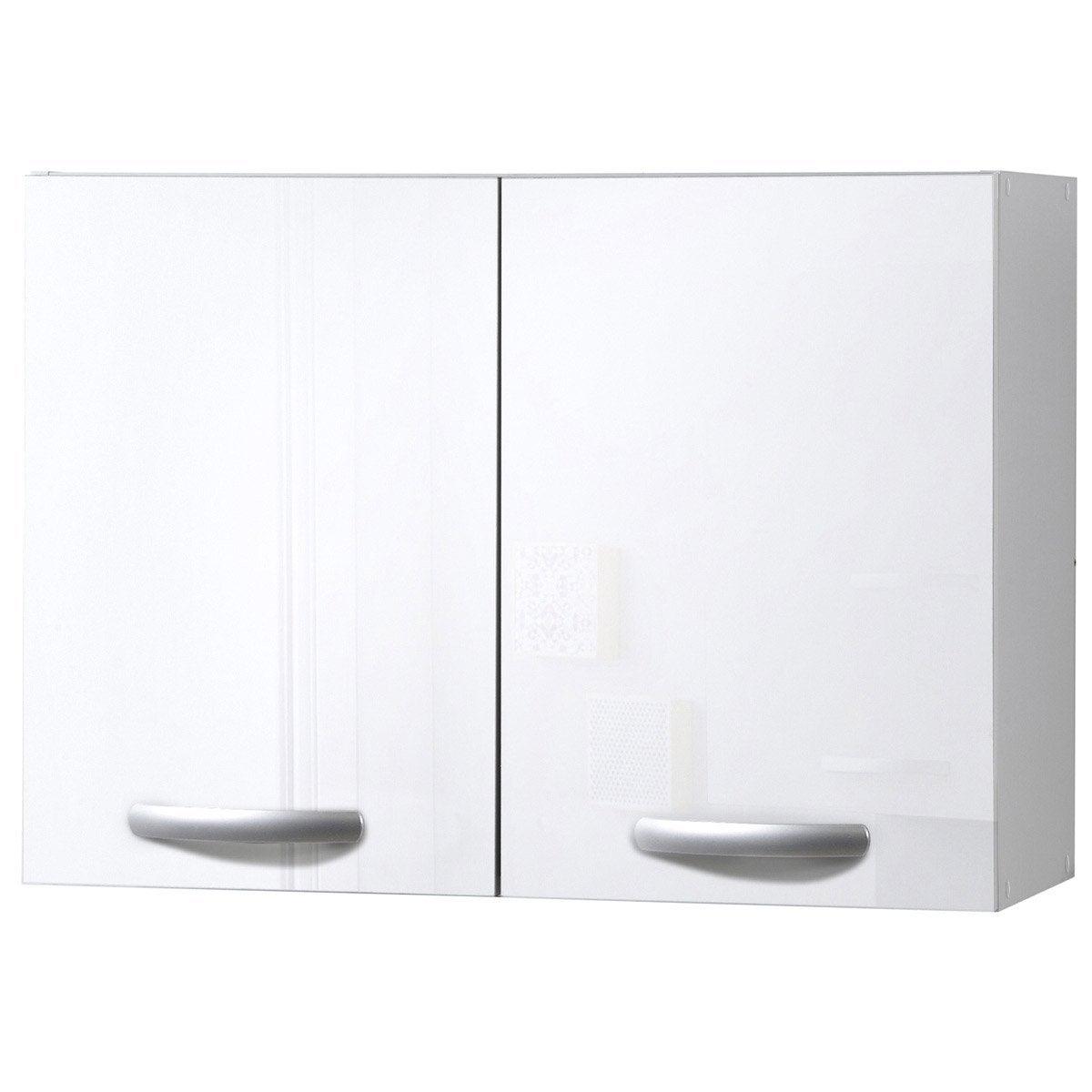 Meuble de cuisine haut 2 portes blanc brillant for Meuble 2 vasques leroy merlin