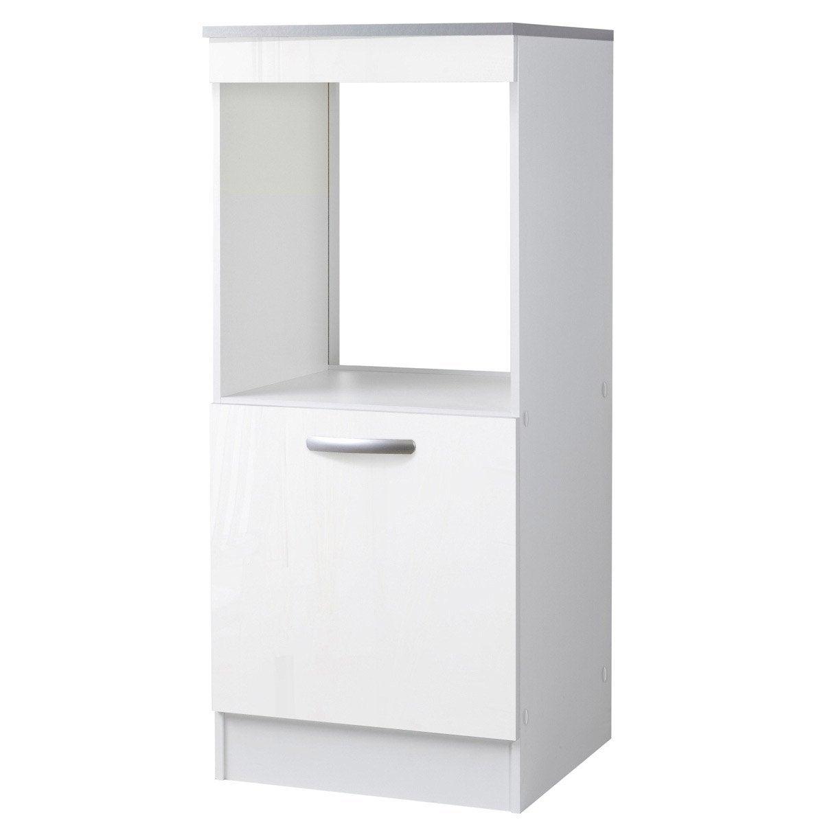 Meuble de cuisine 1 2 colonne 1 porte blanc brillant - Porte meuble cuisine leroy merlin ...