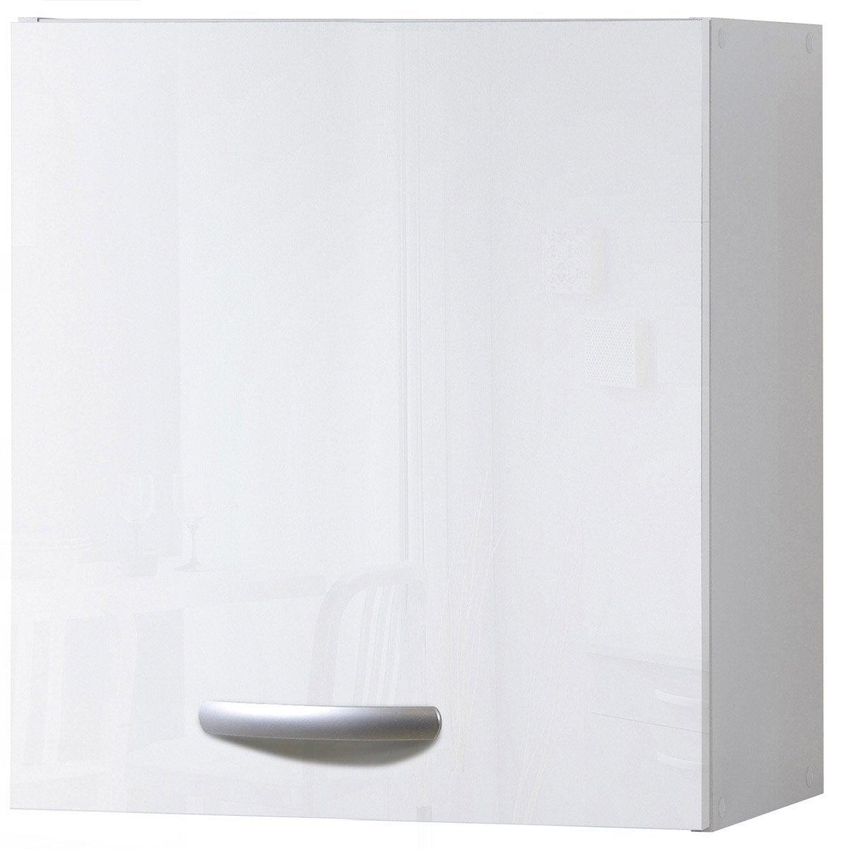 Meuble de cuisine haut 1 porte blanc brillant for Meuble cuisine haut blanc