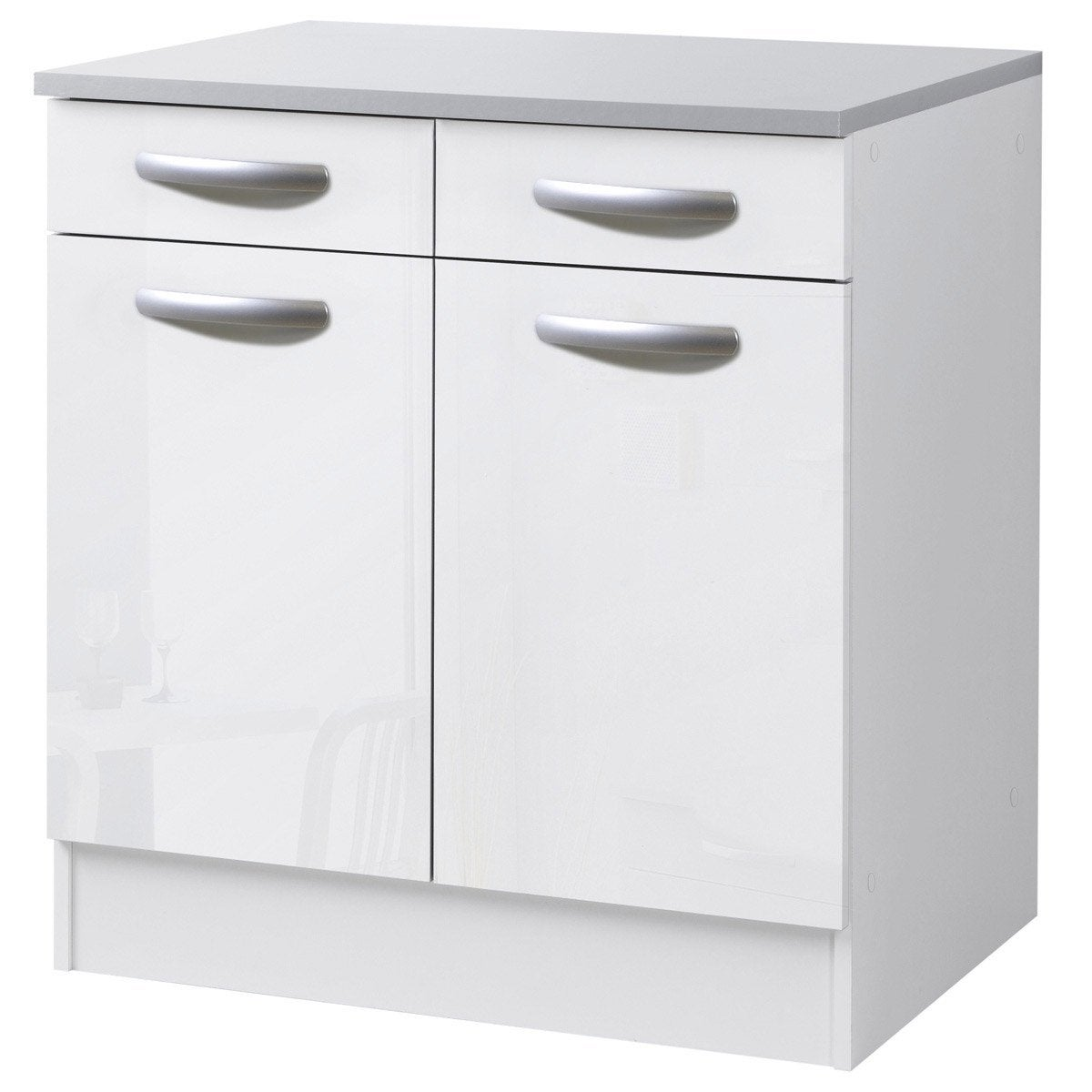 Meuble de cuisine bas 2 portes 2 tiroirs blanc brillant for Portes elements cuisine leroy merlin
