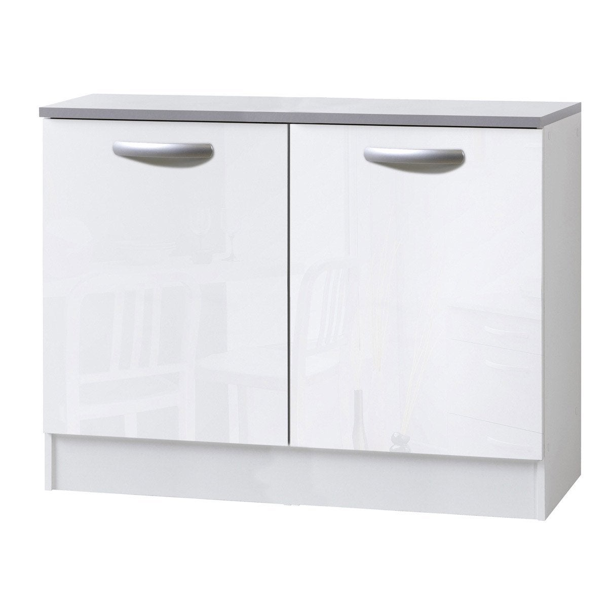 Meuble de cuisine bas 2 portes blanc brillant h86x l120x for Portes elements cuisine leroy merlin