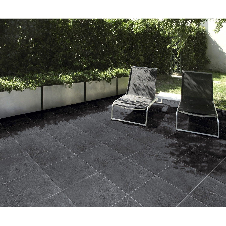 carrelage noir effet pierre ardenia x cm leroy. Black Bedroom Furniture Sets. Home Design Ideas