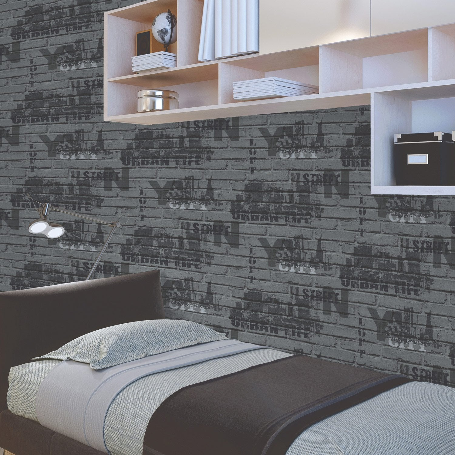 papier peint papier brique loft typo gris fonc leroy merlin. Black Bedroom Furniture Sets. Home Design Ideas