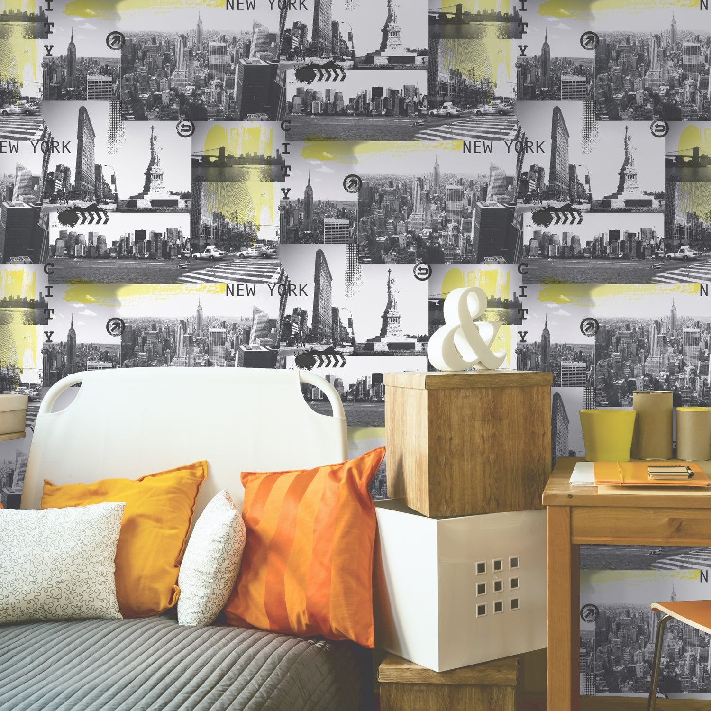 Papier peint papier new york jaune leroy merlin - Peinture chambre leroy merlin ...