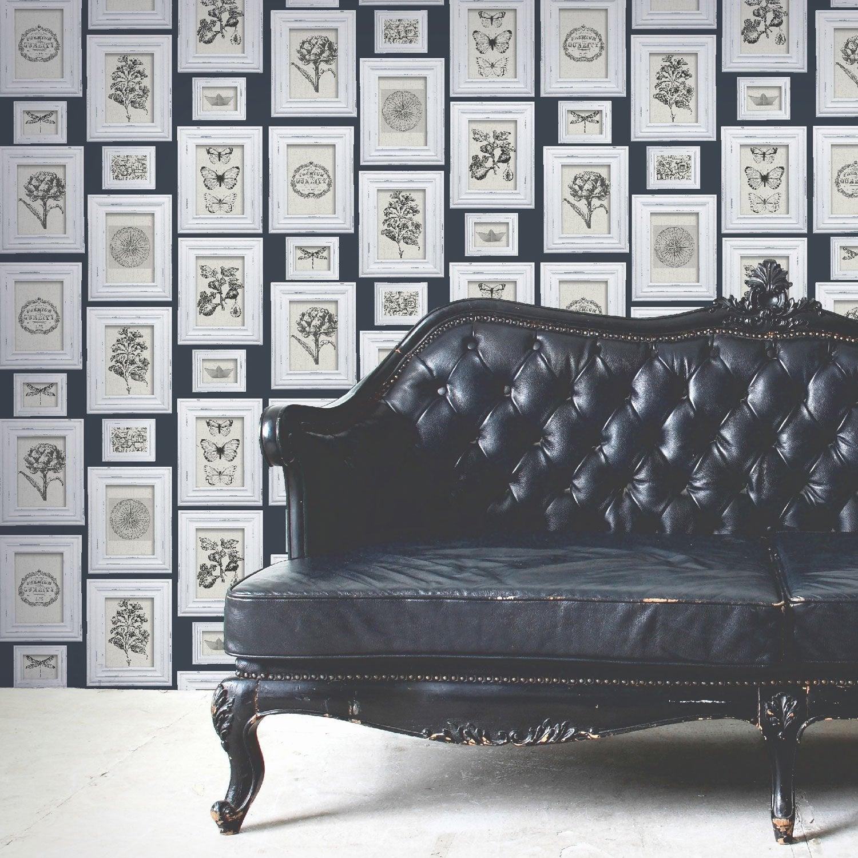 papier peint intiss cadre naturaliste bleu leroy merlin. Black Bedroom Furniture Sets. Home Design Ideas