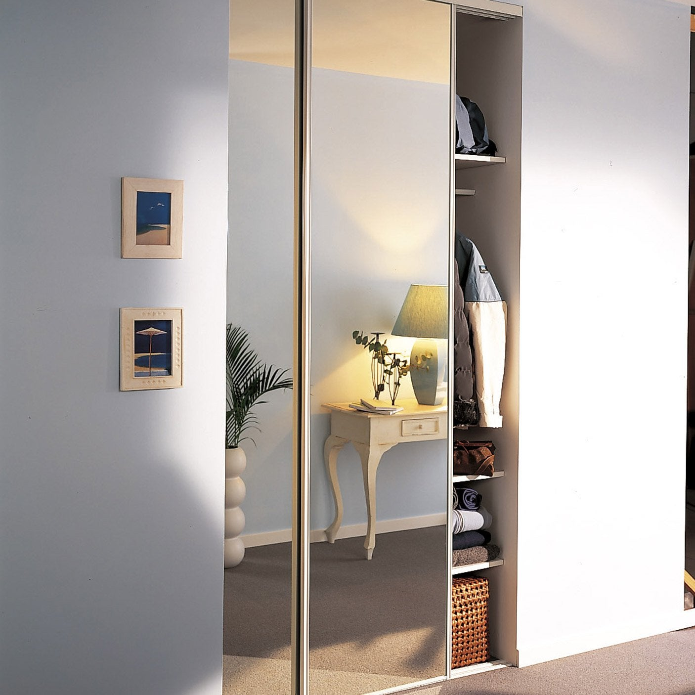 lot de 2 portes de placard coulissante miroir argent x cm leroy merlin. Black Bedroom Furniture Sets. Home Design Ideas