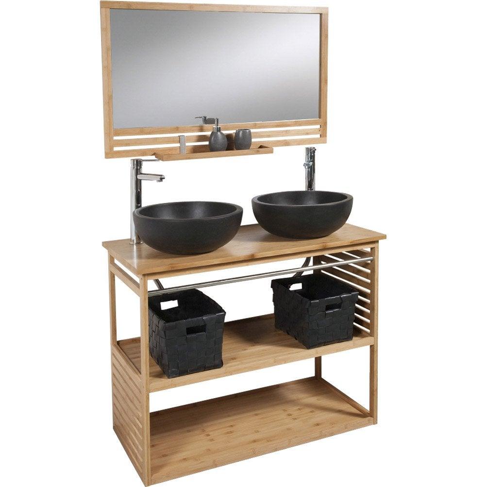 Meuble double vasque leroy merlin perfect de salle de for Meuble salle de bain teck leroy merlin